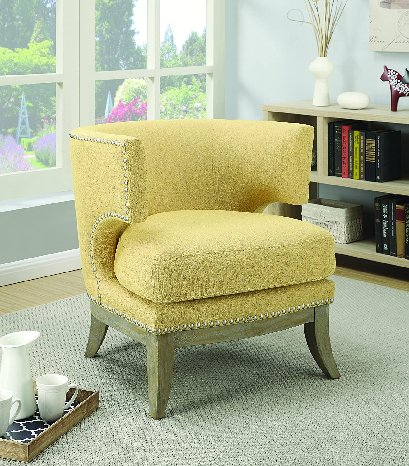 Superb Details About Coaster Home Furnishings Accent Chair With Barrel Back Yellow And Weathered Grey Machost Co Dining Chair Design Ideas Machostcouk