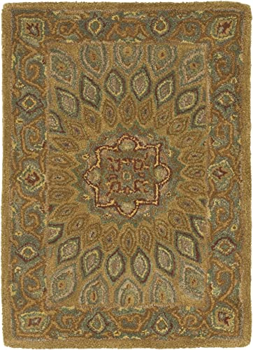 Safavieh Heritage Collection HG914A Handcrafted Traditional Oriental Light Brown and Grey Wool Area Rug 2 x 3