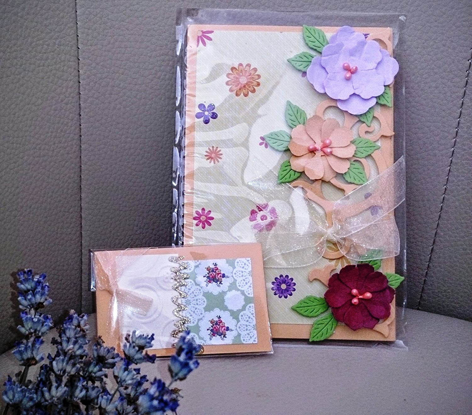A Set of Two Greeting Cards and Two Small Bouquet Cards Naturel Design Greeting Beauties Collection