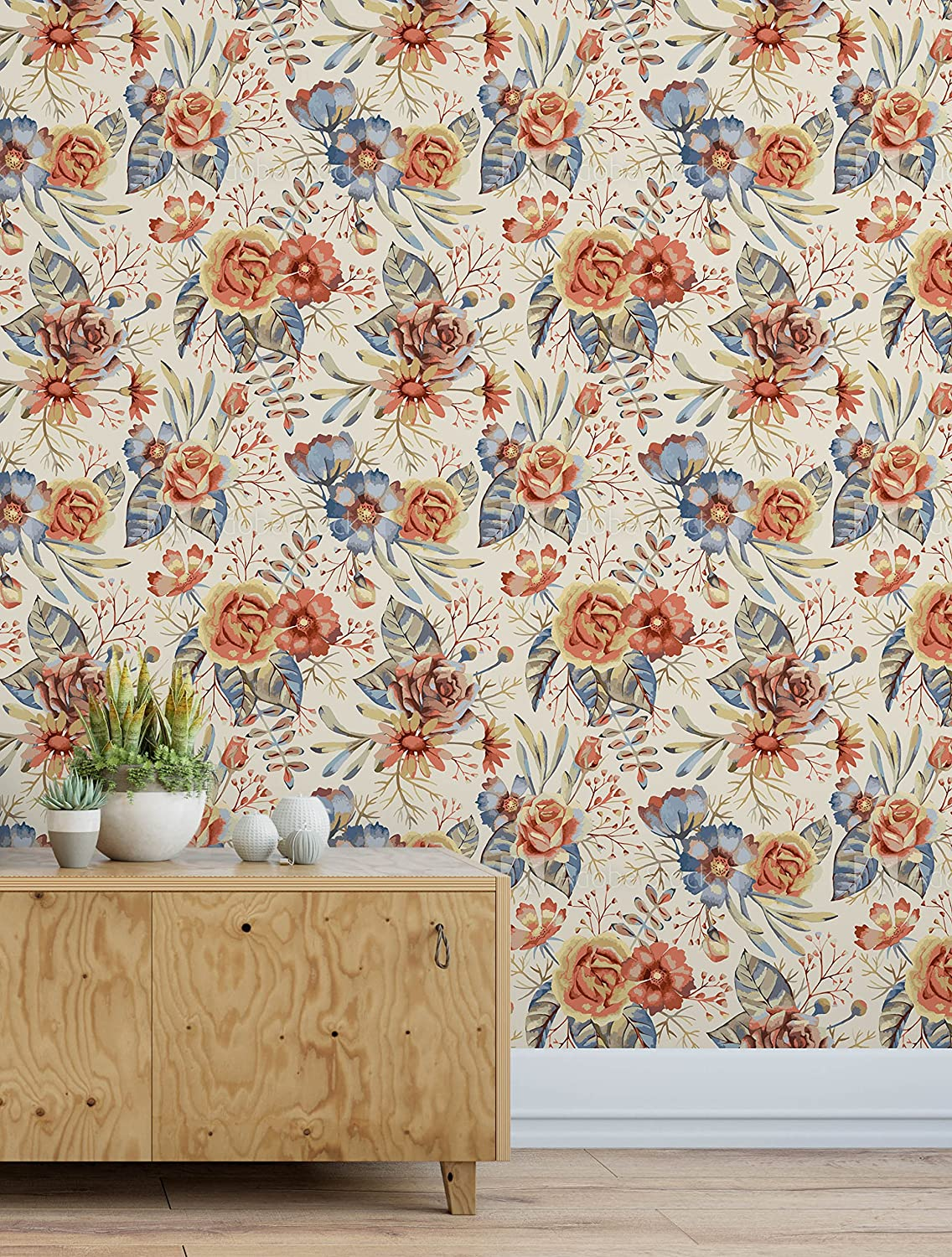 Amazon Com Vintage Floral Self Adhesive Removable Wallpaper