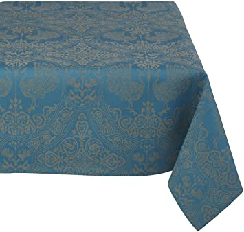Amazon.com: Mahogany Peacock 60 Inch By 120 Inch Teal Tablecloth, Cotton  Jacquard: Home U0026 Kitchen
