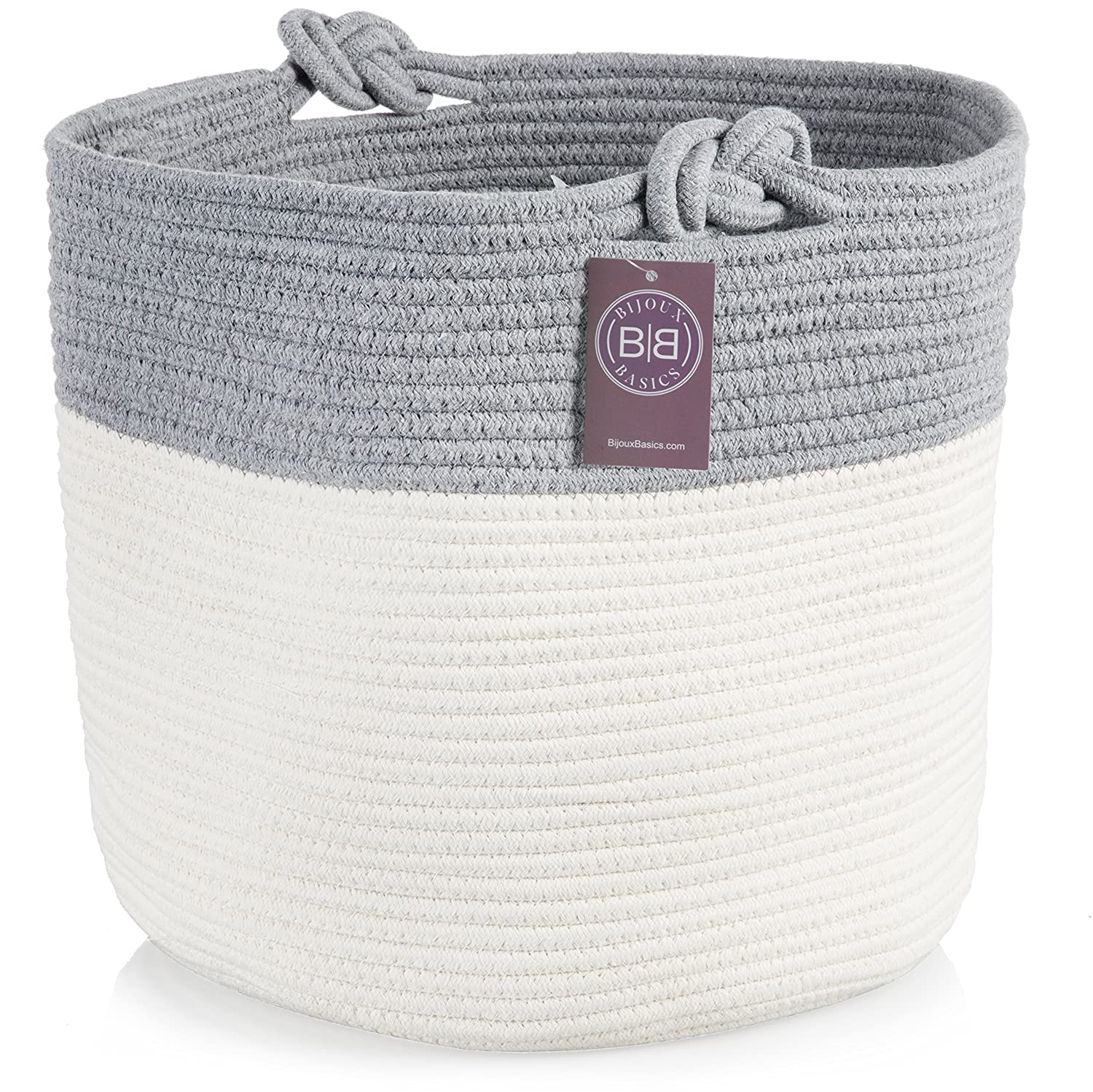 Bijoux Basics Round Woven Cotton Rope Basket: Large Basket for Nursery/Laundry/Gift/Kids Toy Storage/Organizer for Baby Boys or Girls Room Family Friendly Products