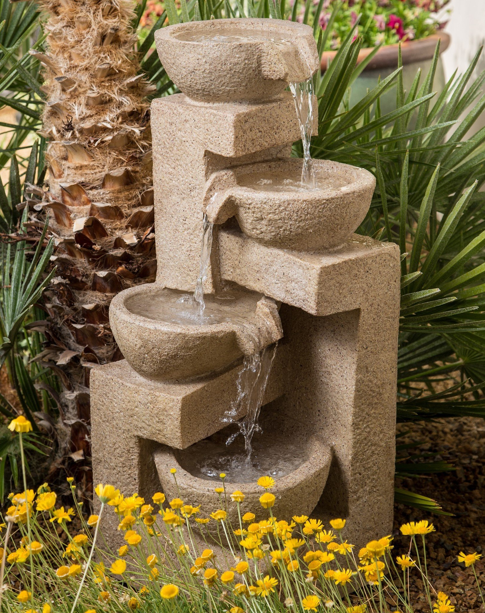 31'' Flowing Bowl Garden Fountain - Great Water Feature for Patios, Outdoor Spaces, Gardens, Homes. Waterfall Style Flow Fountain Pump Included