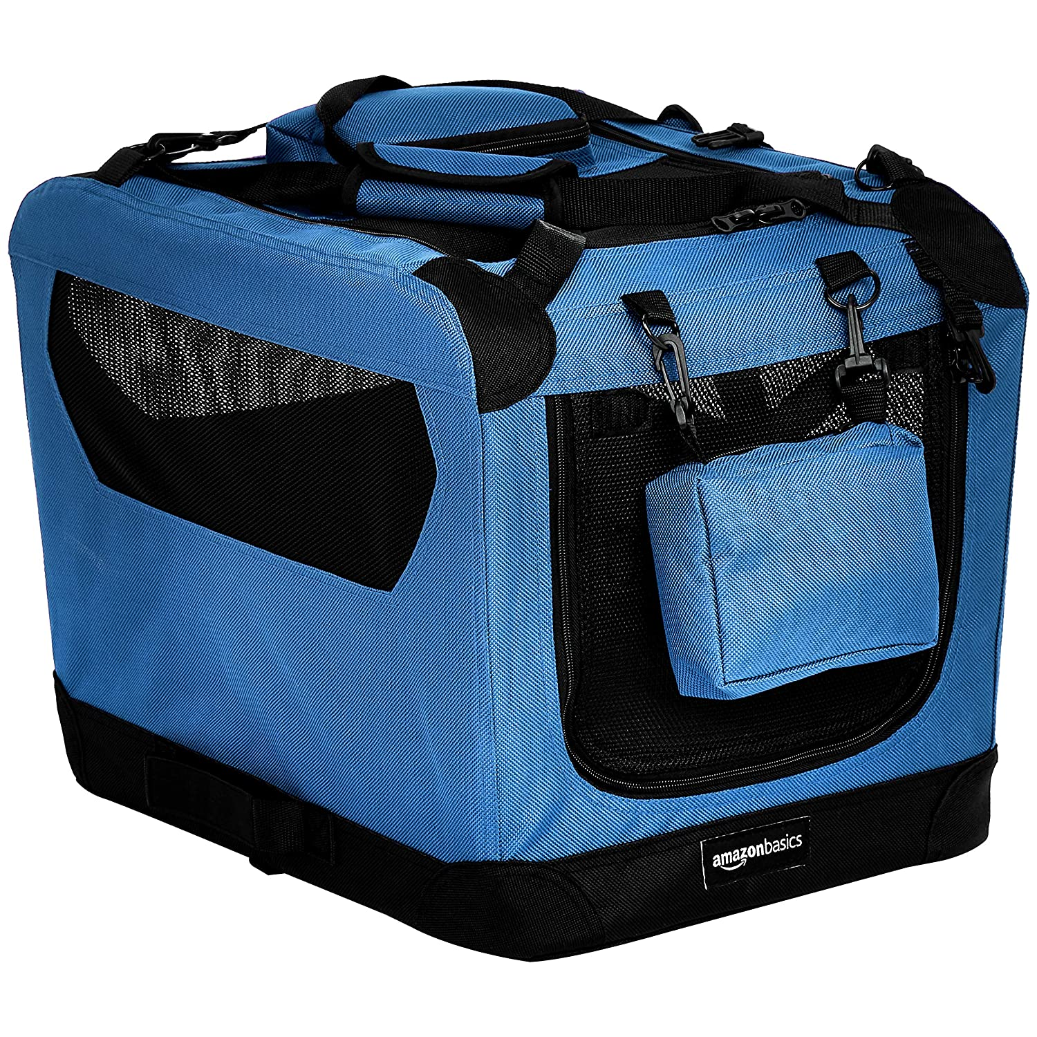 blueE 21\ blueE 21\ AmazonBasics Premium Folding Portable Soft Pet Crate 21', bluee
