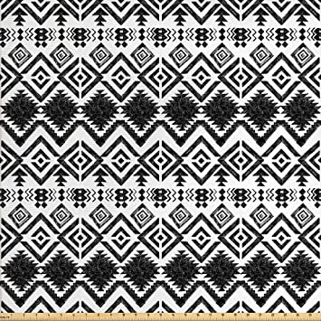 Amazon Com Lunarable Tribal Fabric By The Yard Hand Drawn Style