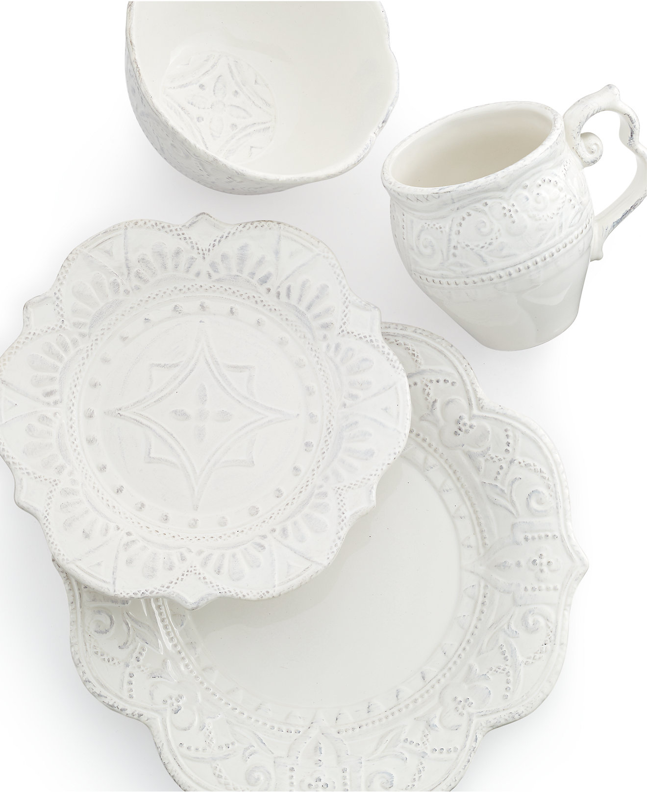 White apron macy's - Maison Versailles Blanc Amelie Scalloped 4 Piece Place Setting Dinnerware Dining Entertaining