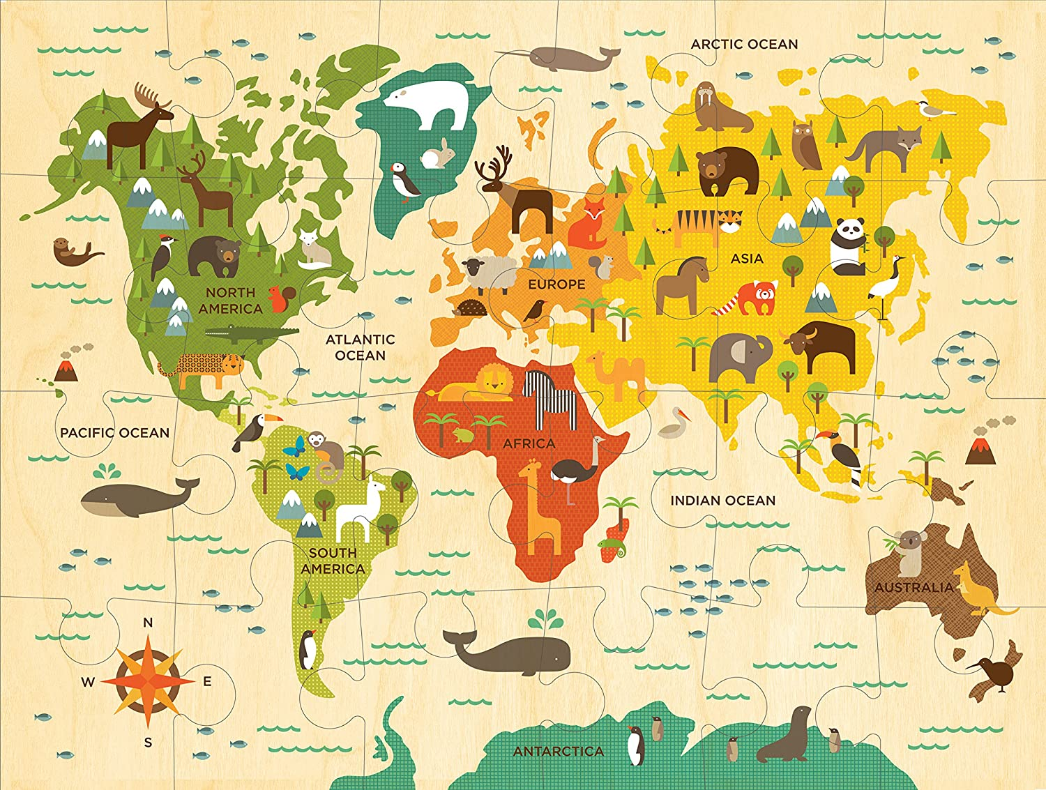 Amazoncom Petit Collage Floor Puzzle Our World Pieces - Us map of the world