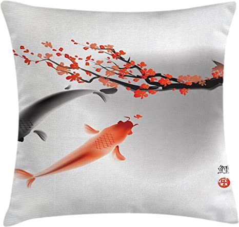Amazon Com Ambesonne Japanese Throw Pillow Cushion Cover Koi Carp Fish Couple Swimming With Cherry Blossom Sakura Branch Culture Design Decorative Square Accent Pillow Case 20 X 20 Orange Grey Home Kitchen