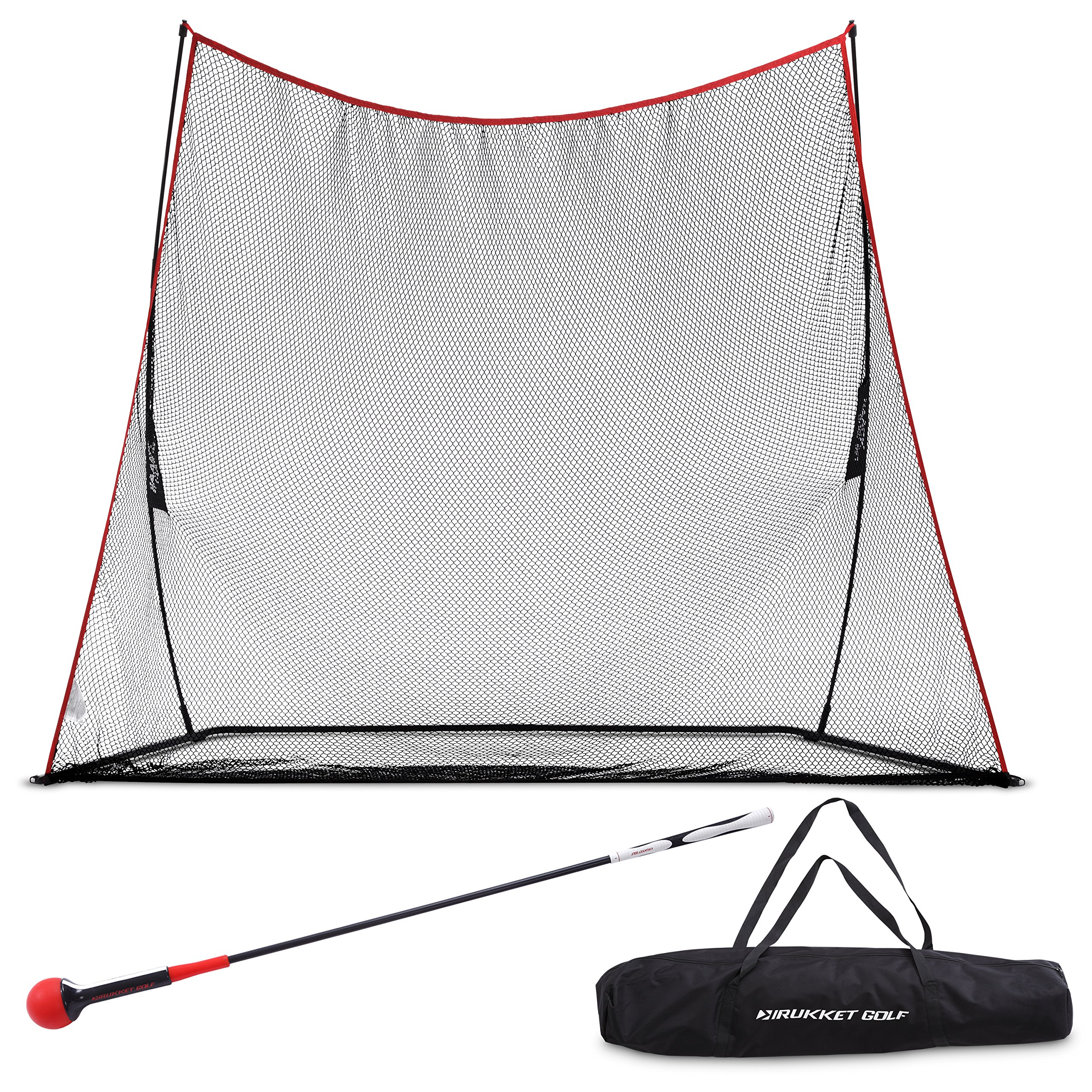 Rukket Haack Golf Net 3pc Bundle with Flexible Golf Swing Plane Tempo Trainer and Carry Bag, Practice Hitting/Driving Indoors, at Home or Backyard