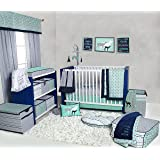 Bacati Noah Tribal 10 Piece Nursery-in-a-Bag Cotton Percale Unisex Crib Bedding Set, Mint/Navy