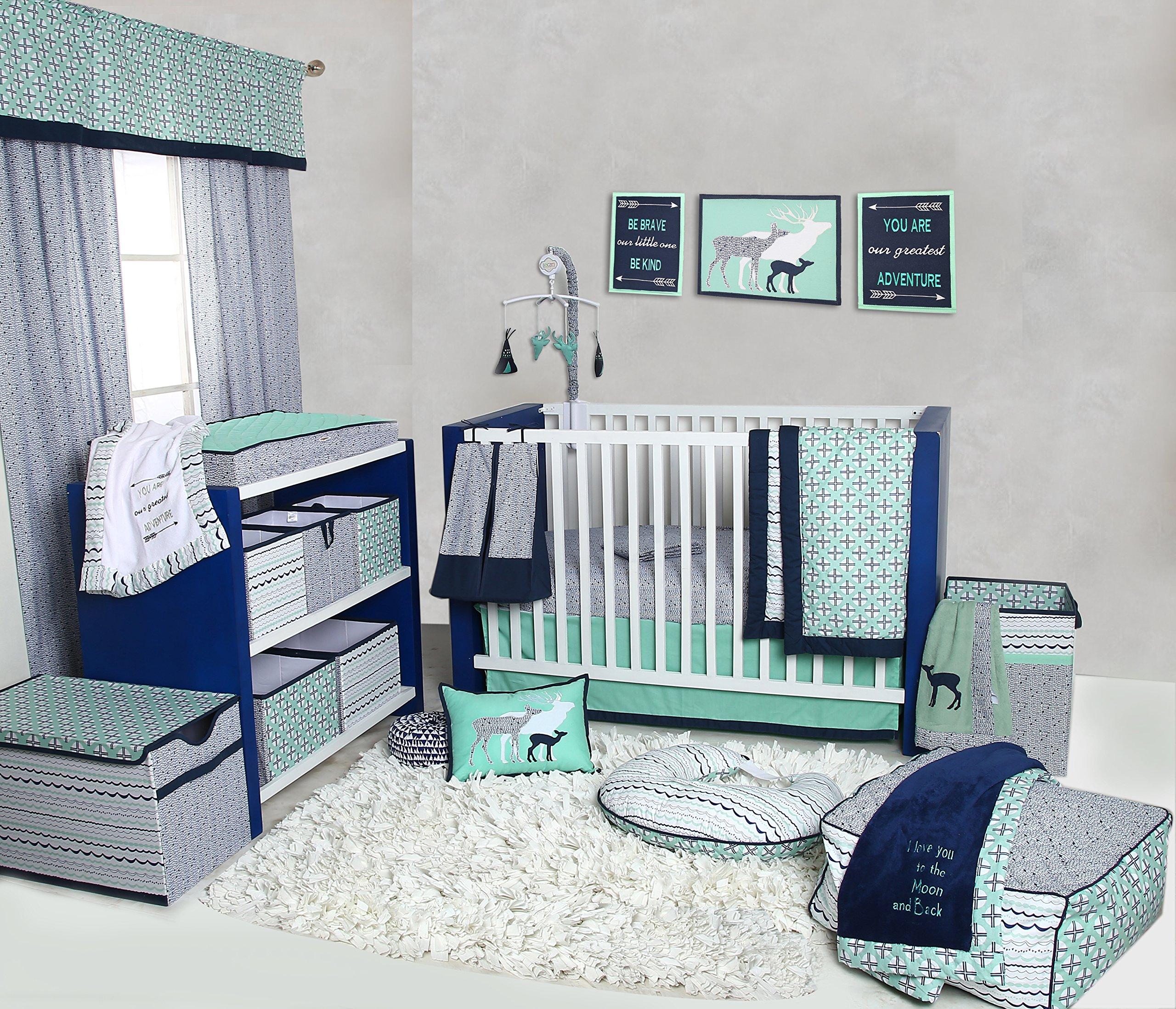 Bacati Noah Tribal 10 Piece Nursery-in-a-Bag Cotton Percale Unisex Crib Bedding Set, Mint/Navy
