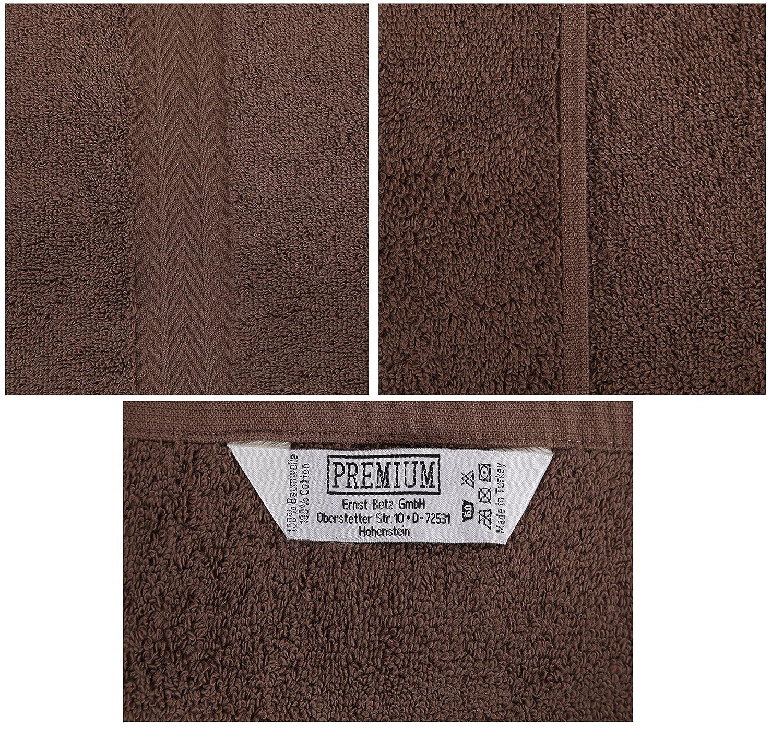 Betz 10-TLG Handtuch-Set Premium 100/% Baumwolle 2 Duscht/ücher 4 Handt/ücher 2 G/ästet/ücher 2 Waschhandschuhe Farbe Nuss Braun /& T/ürkis