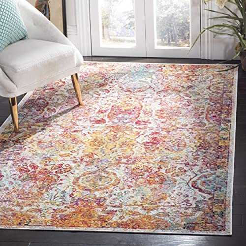 Safavieh Crystal Collection CRS505A Light Blue and Orange Bohemian Distressed Area Rug 6 7 x 9 2