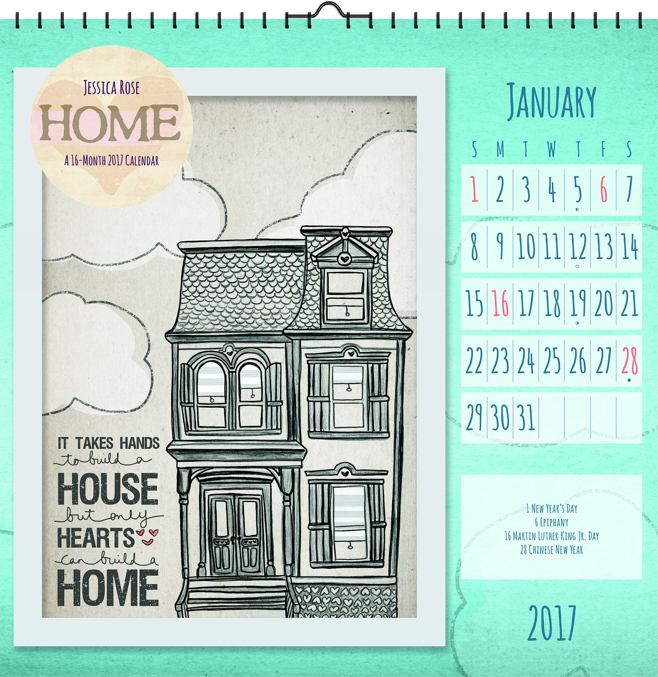 """Read Online Trends International 2017 Art Wall Calendar, September 2016 - December 2017, 12"""" x 12"""", Home By Jessica Rose PDF"""