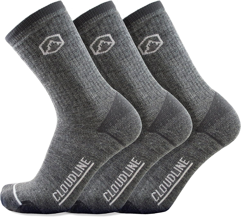 CloudLine Merino Wool Crew Hiking & Trekking Socks - Medium Cushion - 3 Pack