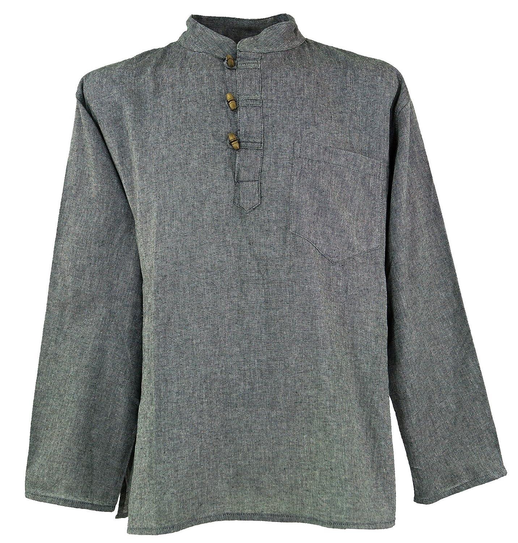 GURU-SHOP Camicia Nepal Fisher Goa Hippie, Dicotone, Camicie da Uomo