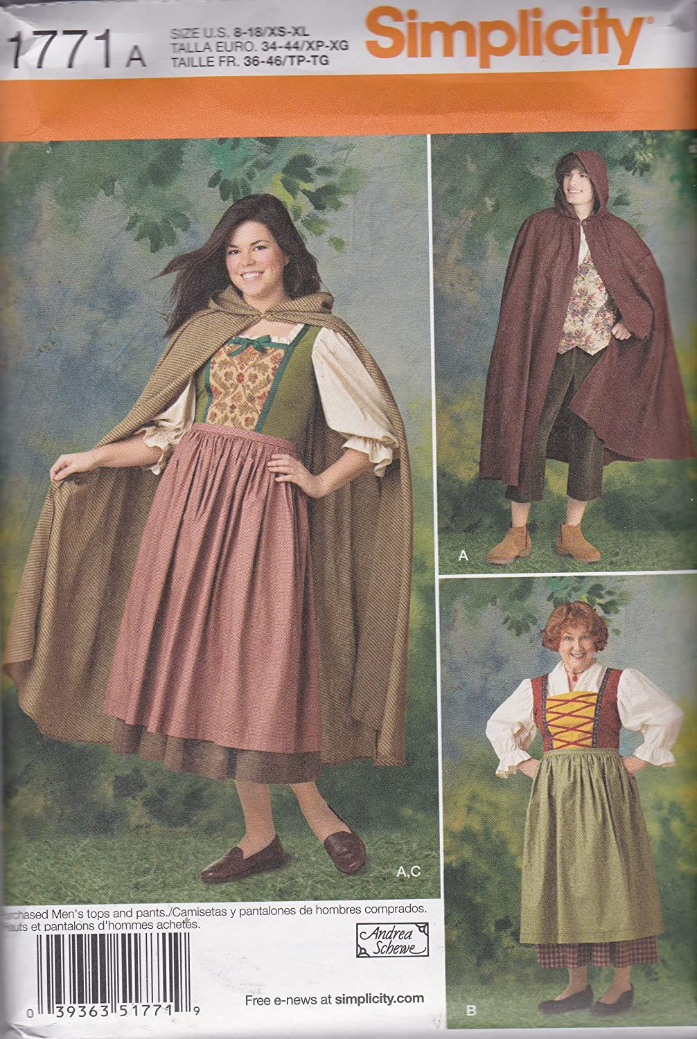 Amazon.com: Misses And Mens Costume Simplicity Sewing Pattern 1771 A (Size: 8-18/XS-XL): Arts, Crafts & Sewing