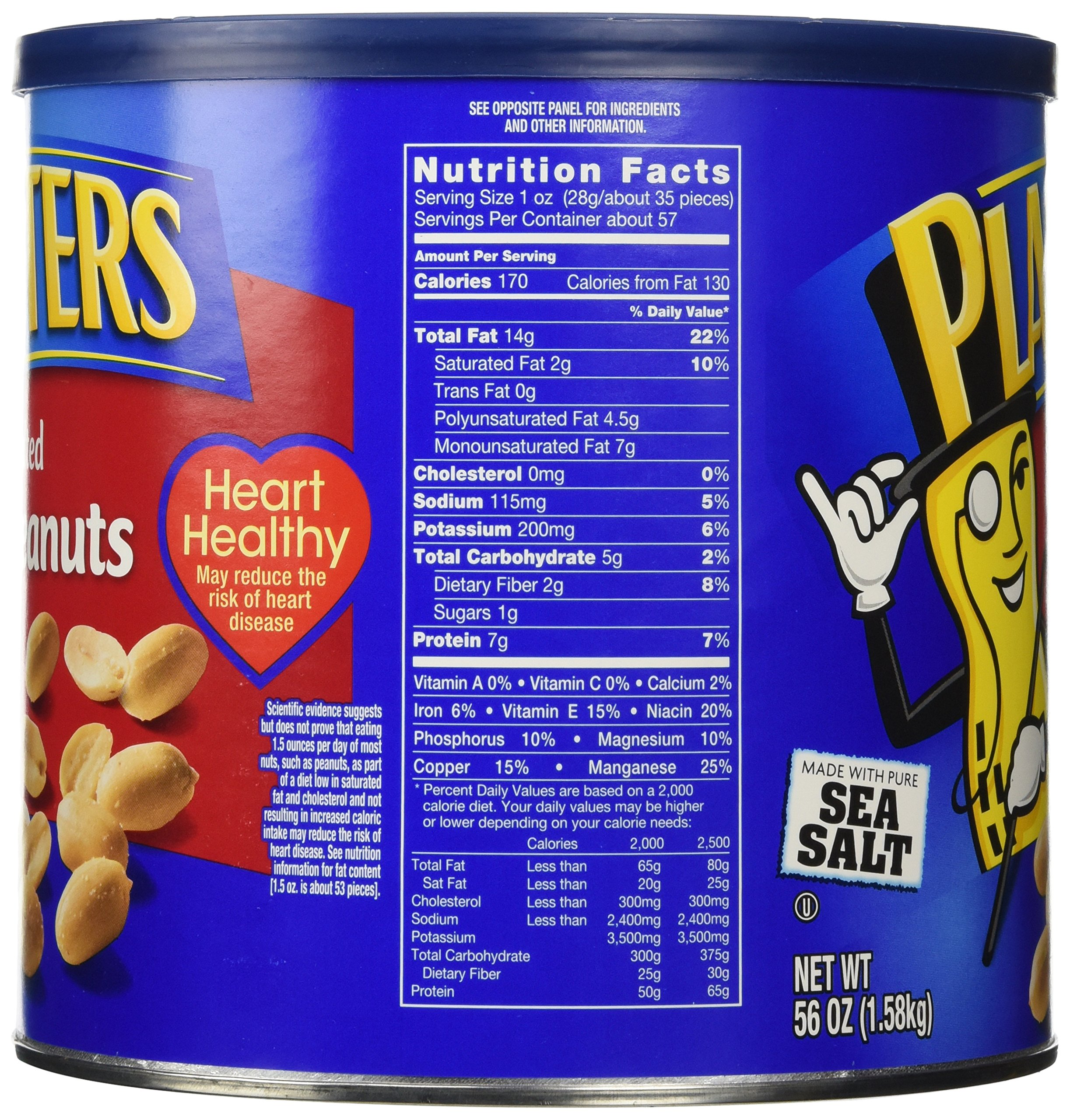 Planters Salted Peanuts, 56 Ounce