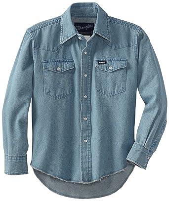 5f5b21af6940 Amazon.com  Wrangler Boys  Western Solid Snap Shirt  Button Down ...