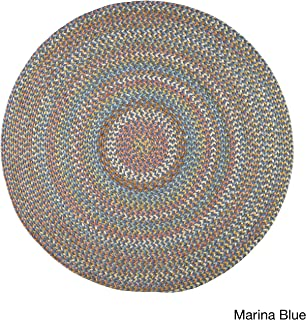 product image for Rhody Rug Cozy Cove Indoor/Outdoor Round Braided Rug (4' x 4') by - 4' Round Blue