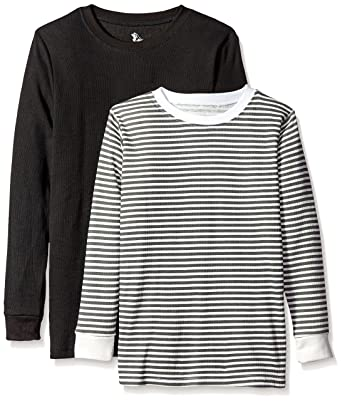b88f2917cb Big Boys , 18 , Black/Charcoal Stripe Natural : American Hawk Boys' 2 Pack:  Long Sleeve Thermal Tops: Amazon.in: Clothing & Accessories