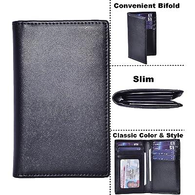 Slim Thin ID//Credit Card Holder RFID Genuine Leather Bifold Front Pocket Wallet