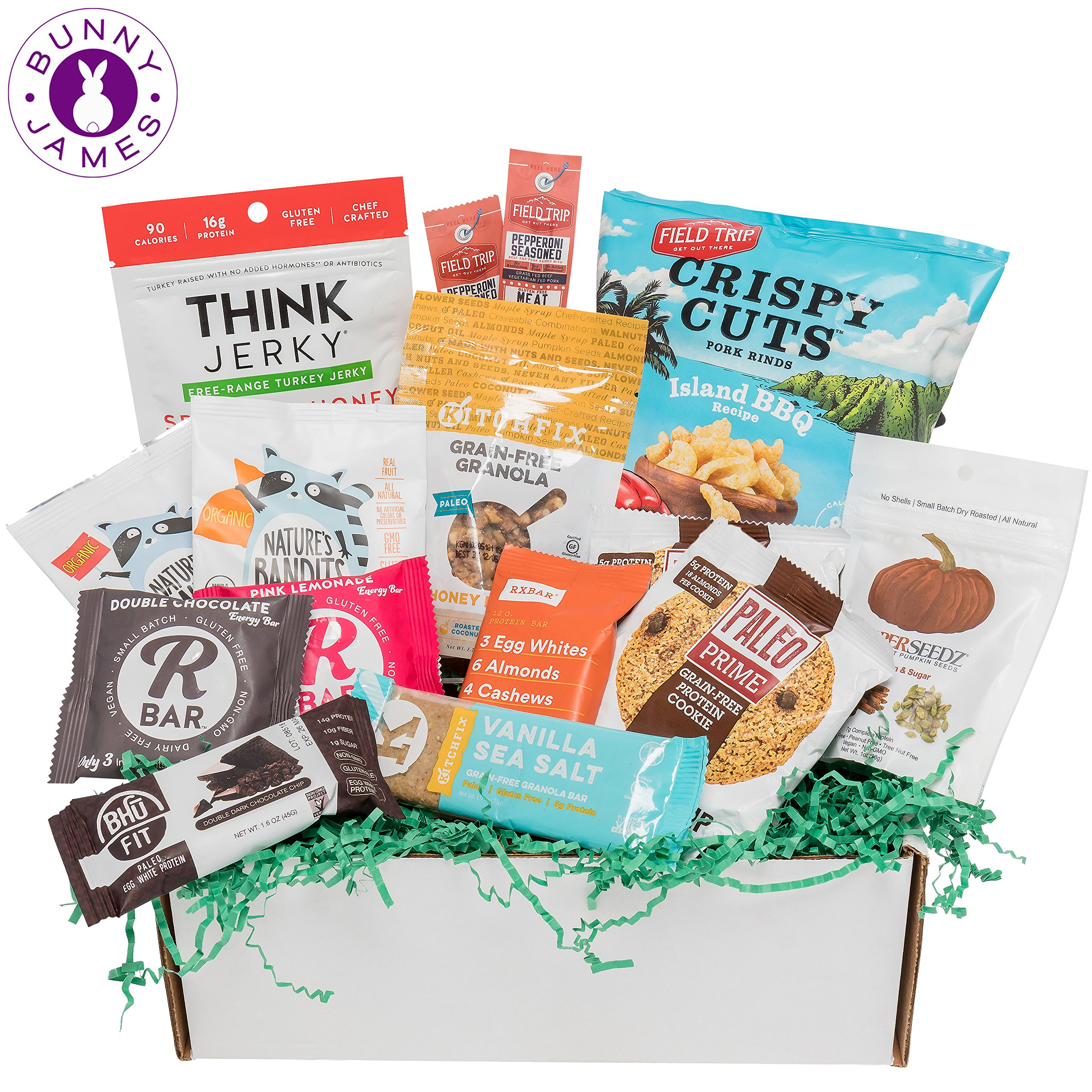 PALEO Diet Snacks Gift Basket: Mix of Whole Foods Protein Bars, Grain Free Granola, Cookies, Jerky Meat Sticks, Fruit & Nut Snacks Sampler Box