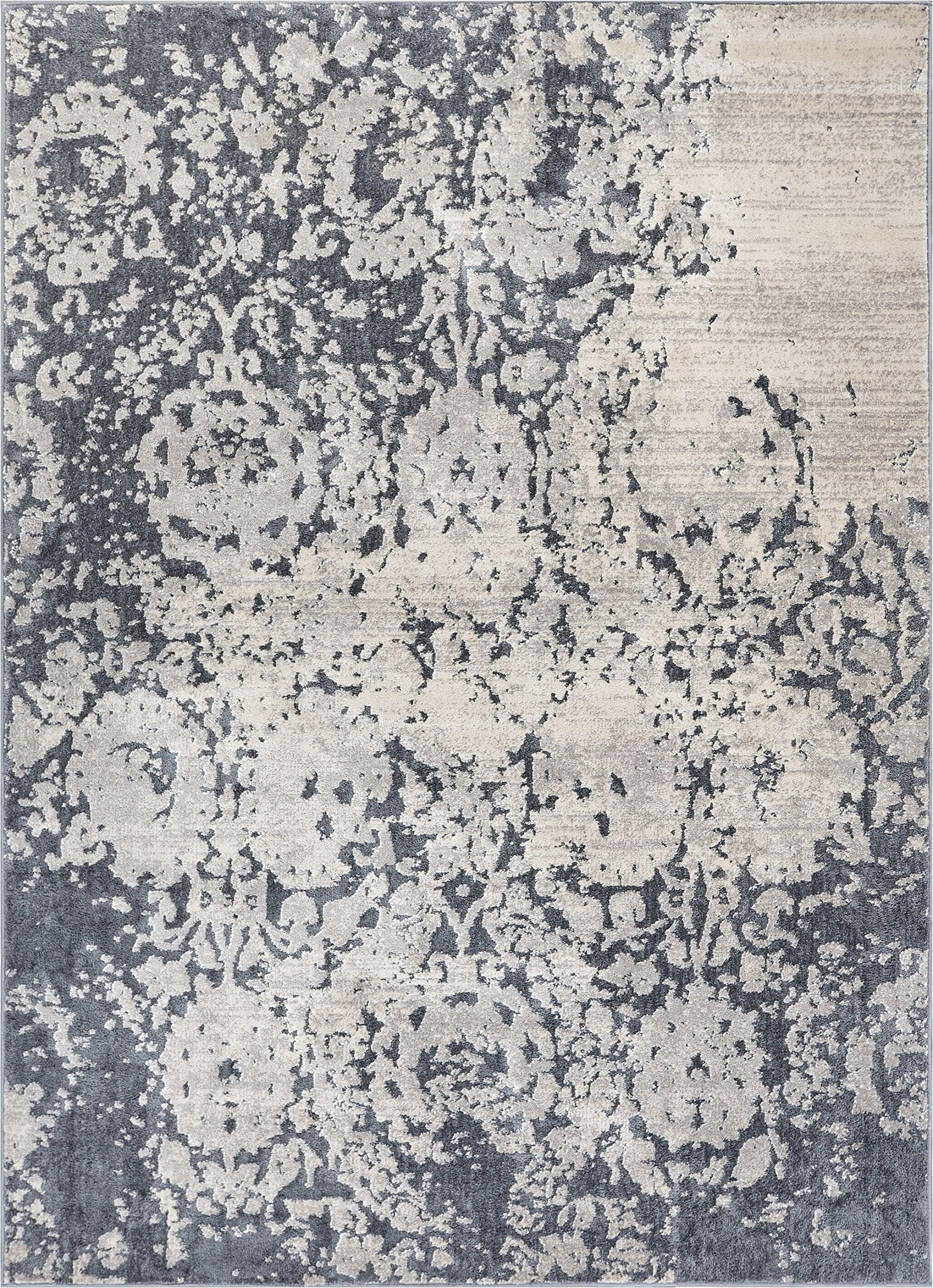 Forte Grey Microfiber High-Low Pile Vintage Abstract Erased Floral 8x10 (7'10'' x 9'10'') Area Rug Modern Oriental Carpet by Well Woven (Image #2)