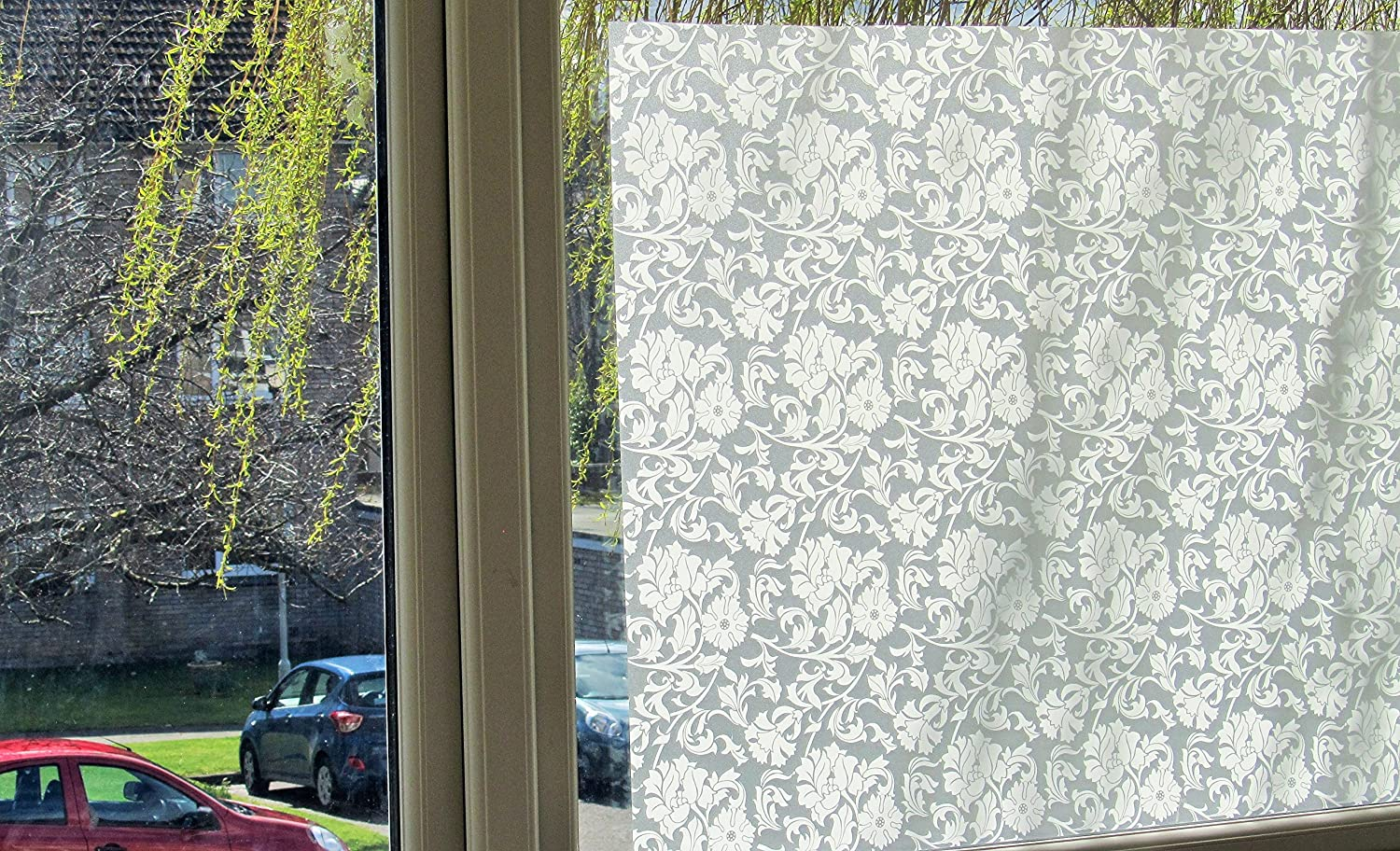 REUSABLE, Static Frosted Decorative Window Vinyl Film, Stained Glass Effect (1m x 90cm) Frosted White Flowers