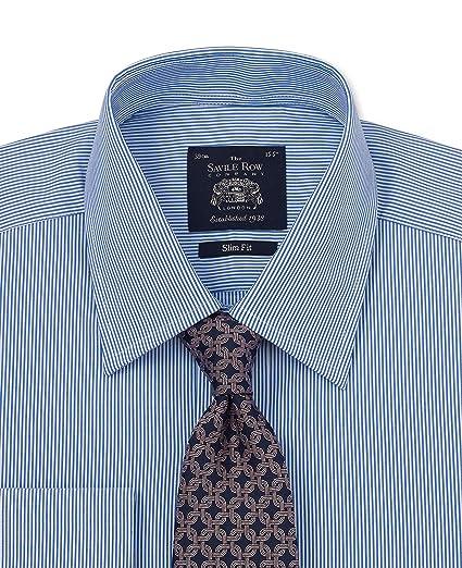 "9700cab8be Savile Row Men's Navy Bengal Stripe Slim Fit Shirt - French Cuff 14 1/2"""