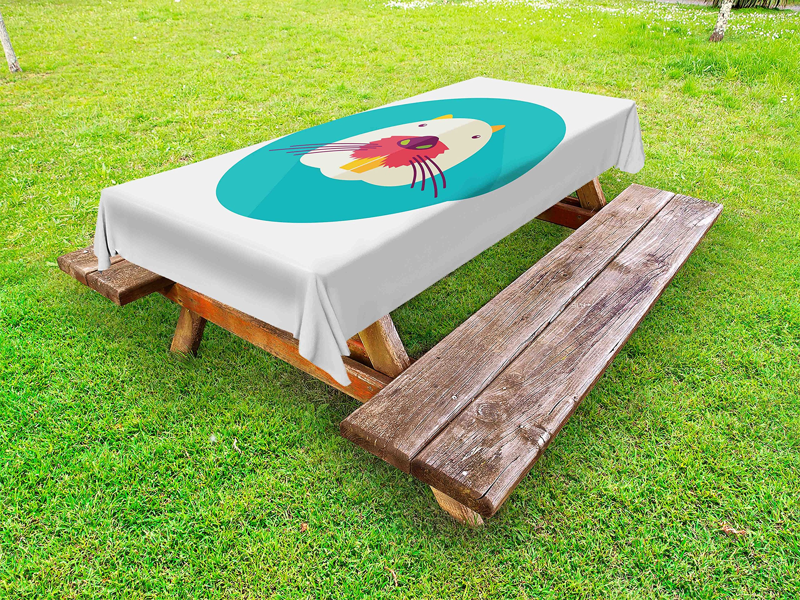 Ambesonne Colorful Outdoor Tablecloth, Beaver Portrait with Small Eyes and Giant Teeth Cartoon Style Animal Illustration, Decorative Washable Picnic Table Cloth, 58 X 104 inches, Multicolor