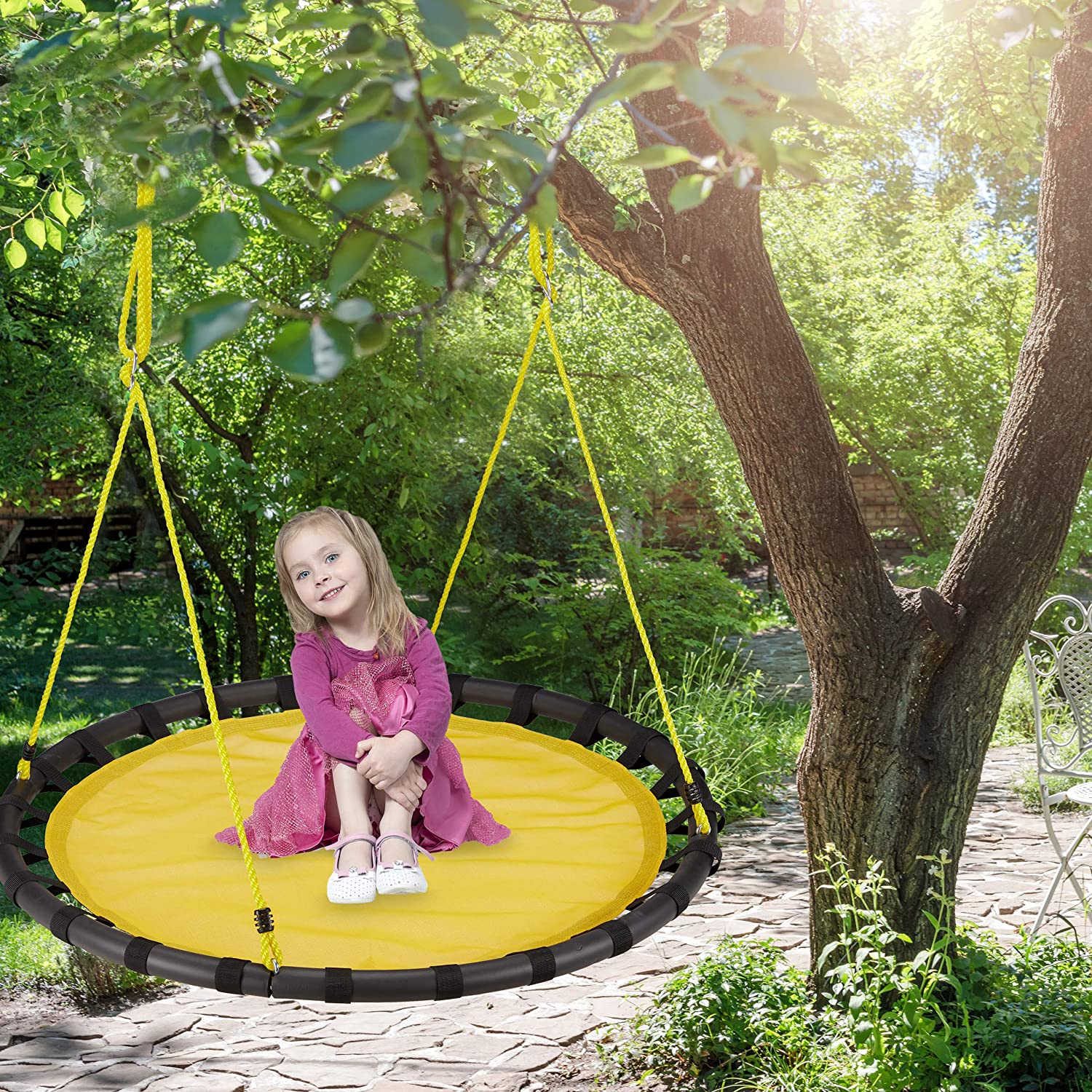 Purple /Ø: 120 cm Relaxdays Nest Height-Adjustable Round Hanging Swing for Children for up to 100 kg