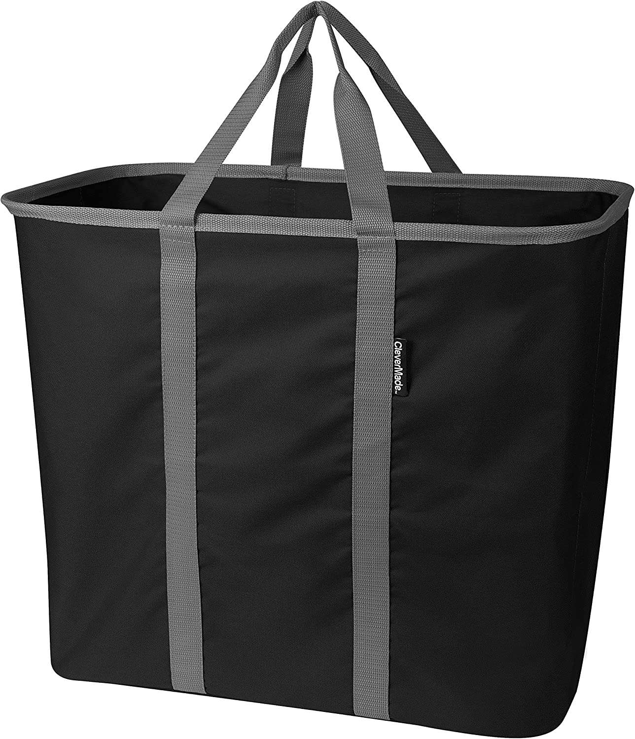 CleverMade Collapsible Laundry Tote, Large Foldable Clothes Hamper Bag, LaundryCaddy CarryAll XL Pop Up Storage Basket with Handles, Midnight/Grey