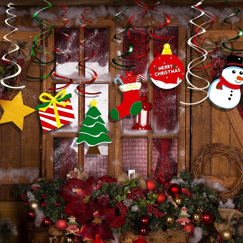 Kuuqa 34 Pieces Christmas Hanging Swirl Decorations Kit Ceiling Swirl