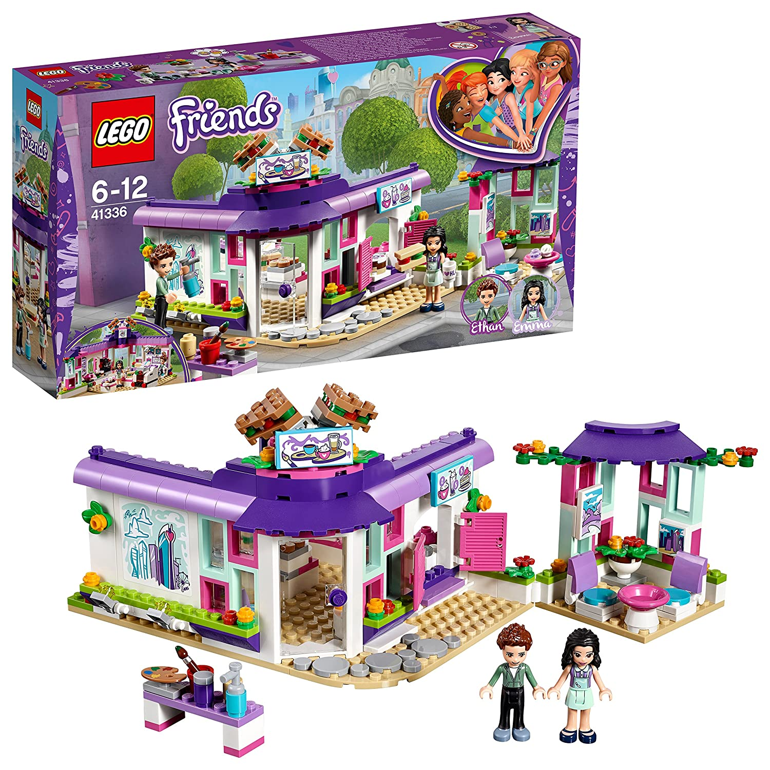 LEGO 41336 Friends Heartlake Emma's Art Café Playset, Emma and Pranksy Mini Dolls, Build and Play Fun Toys for Kids Lego Uk Limited