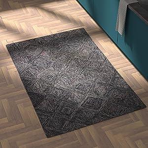 "Amazon Brand – Rivet Motion Modern Patterned Wool Area Rug, 3' 9"" x 5' 9"", Heathered Grey"