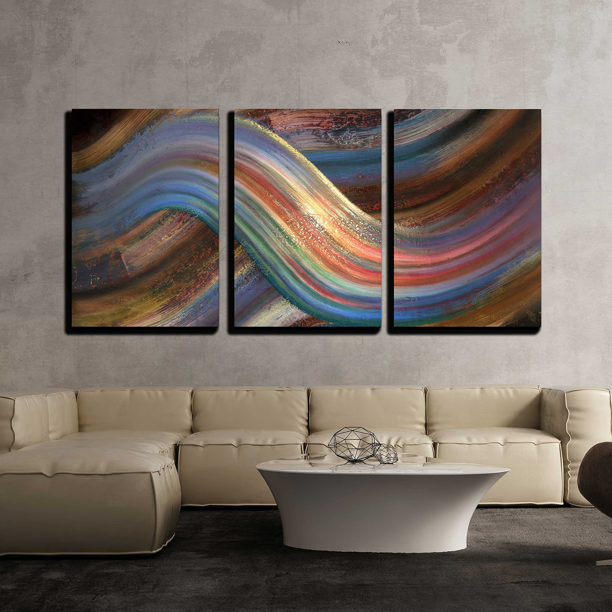 wall26 - 3 Piece Canvas Wall Art - Abstract Picture Showing a Symbolic Alternating Scenery - Modern Home Decor Stretched and Framed Ready to Hang - 24''x36''x3 Panels by wall26
