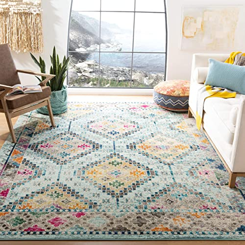 Safavieh Madison Collection MAD418K Blue and Yellow Area 5 3 x 7 6 Rug, 5 3 x 7 6