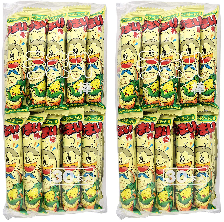 Yaokin Umaibo Corn Puff Snack Corn Potage Flavor 30 pcs (2 Pack)