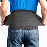 OMAX Lumbar Back Brace - Dual Adjustable Back Straps for Lower Core Support Belt, Immediate Waist Pain Relief w/ 4 Stays Brea