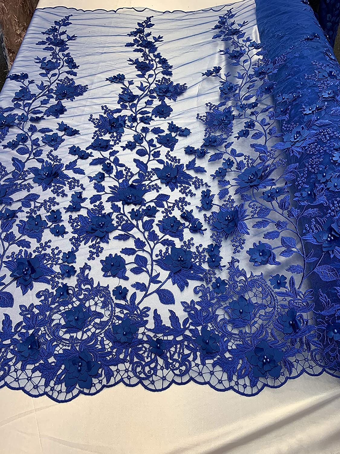 Bridal Lace Fabric 3D Pearls Fabric For Veil Handmand Beaded Lace With Embroidered Flower Wedding Dress Fabric By The Yard