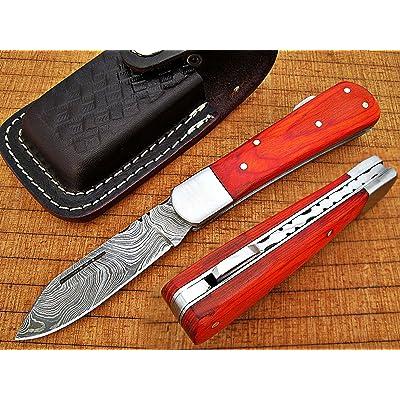 Fabriqué Sur Mesure Damas 16,3cm Awesome Couteau de poche pliant avec manche en bois exotique Lame de couleur orange sous 7,6cm (bdm-692)