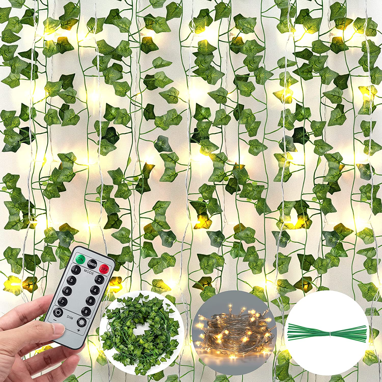 84 Ft 12 Pcs Artificial Ivy Garland Fake Vines with 80 LED String Light and Remote Control JACKYLED Hanging Garland for Holiday Home Kitchen Garden Office Wedding Party Wall Decor