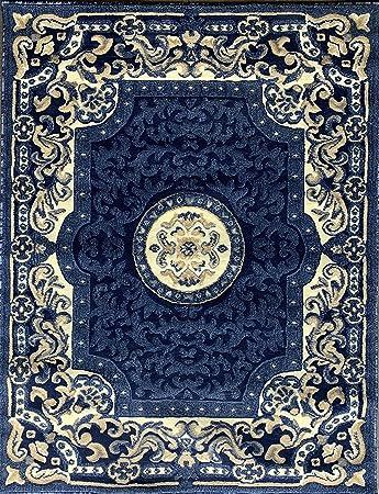 Amazon Com Traditional Persian Oriental Area Rug Dark Navy Blue Beige Carpet King Design 101 8 Feet X 10 Feet 6 Inch Kitchen Dining