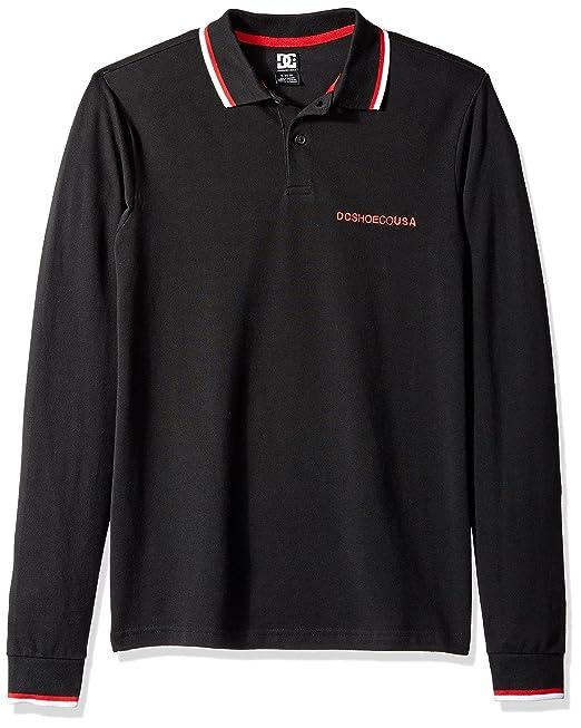 DC Hombre EDYKT03428 Manga Larga Camisa Polo - Negro - Small ...