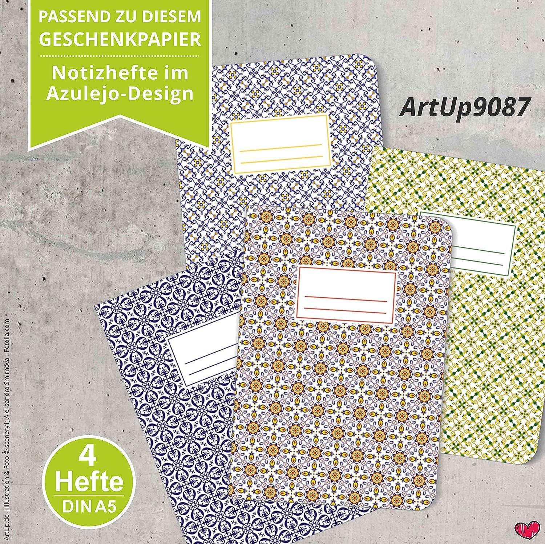 ArtUp.de Carta da regalo Azulejos Portugal ca. 42 x 59 cm formato DIN A2 8 fogli 4 motivi con 2 fogli di carta per regali straordinariamente belli e pregiati