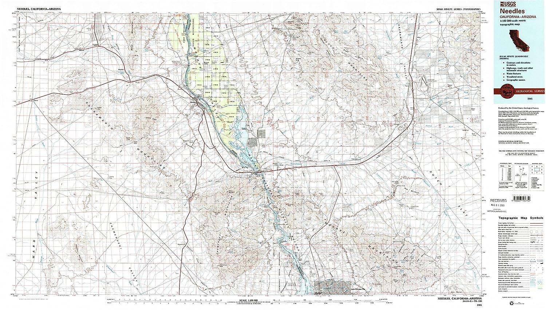 Amazon Com Yellowmaps Needles Ca Topo Map 1 100000 Scale 30 X 60