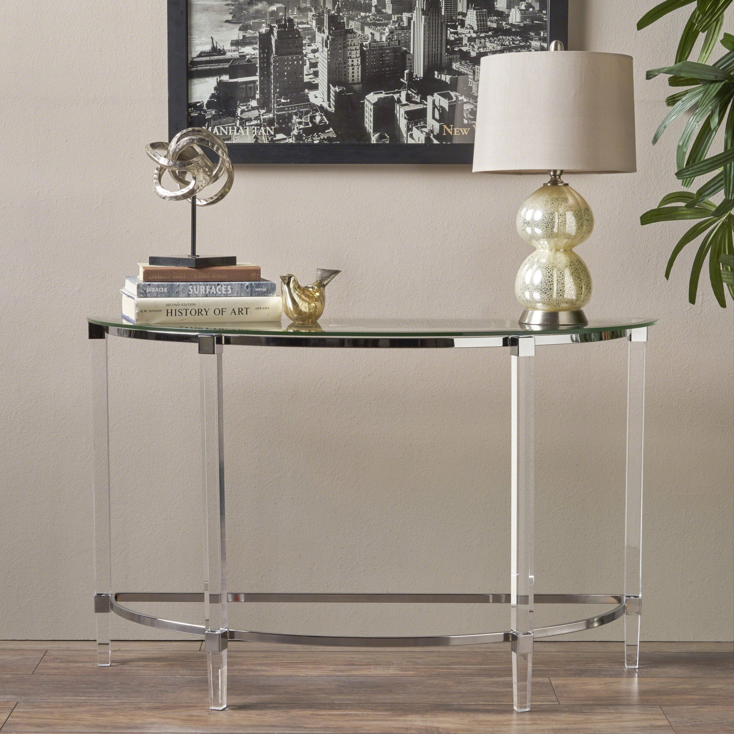 Christopher Knight Home Erin Modern Tempered Glass Console Table with Acrylic and Iron Accents, Clear by Christopher Knight Home