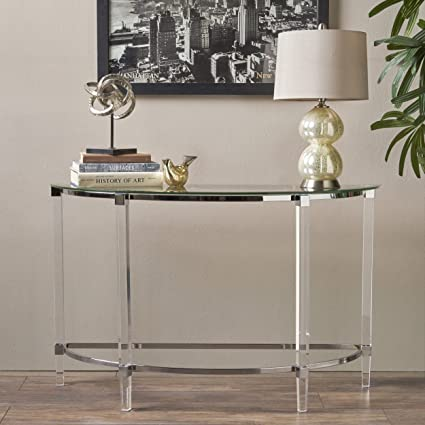 Erin Modern Tempered Glass Console Table with Acrylic and Iron Accents