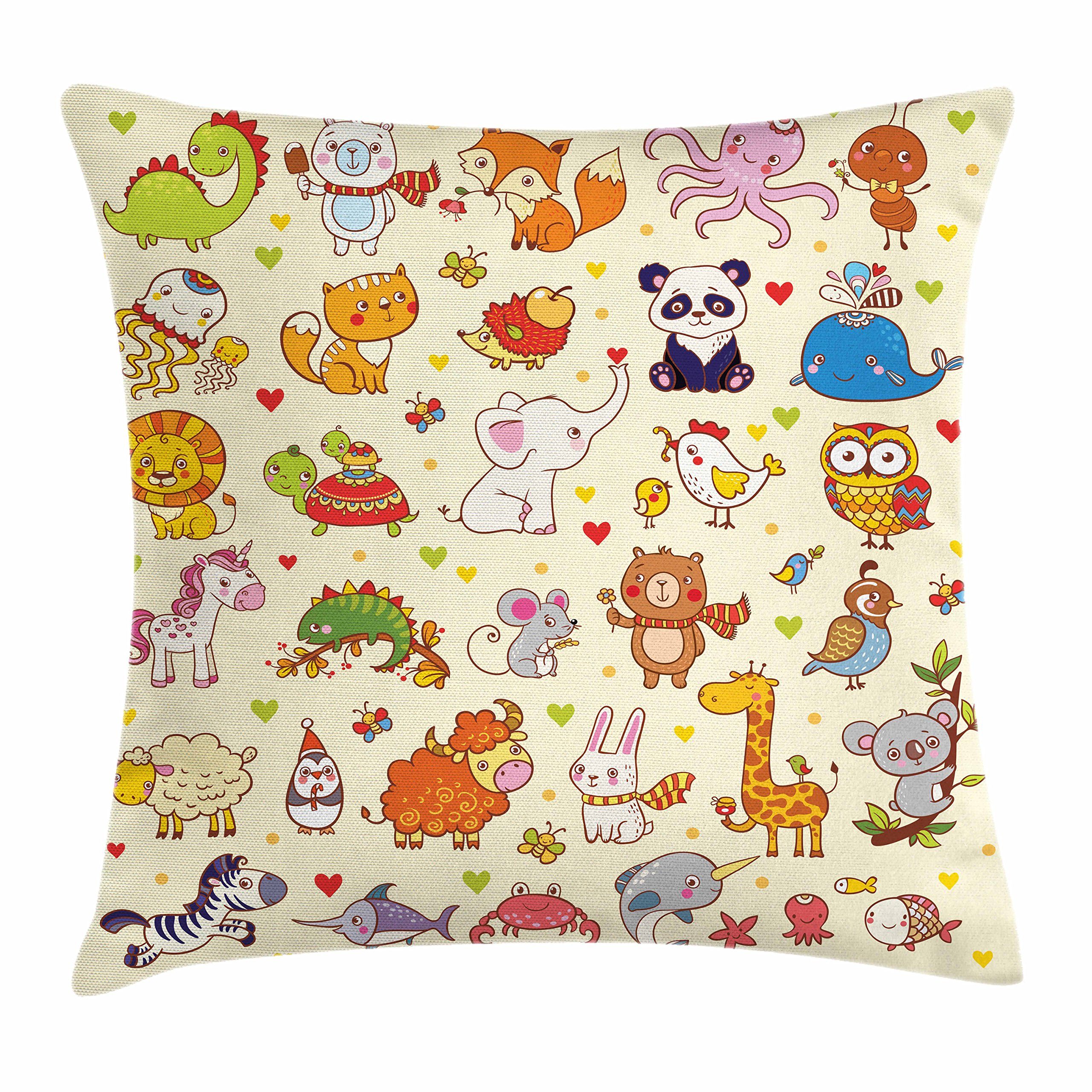 Lunarable Kids Throw Pillow Cushion Cover, Cartoon Panda Fox Elephant Chicken Birds Mouse Animals Nursery Children Room Cute, Decorative Square Accent Pillow Case, 26 X 26 inches, Multicolor